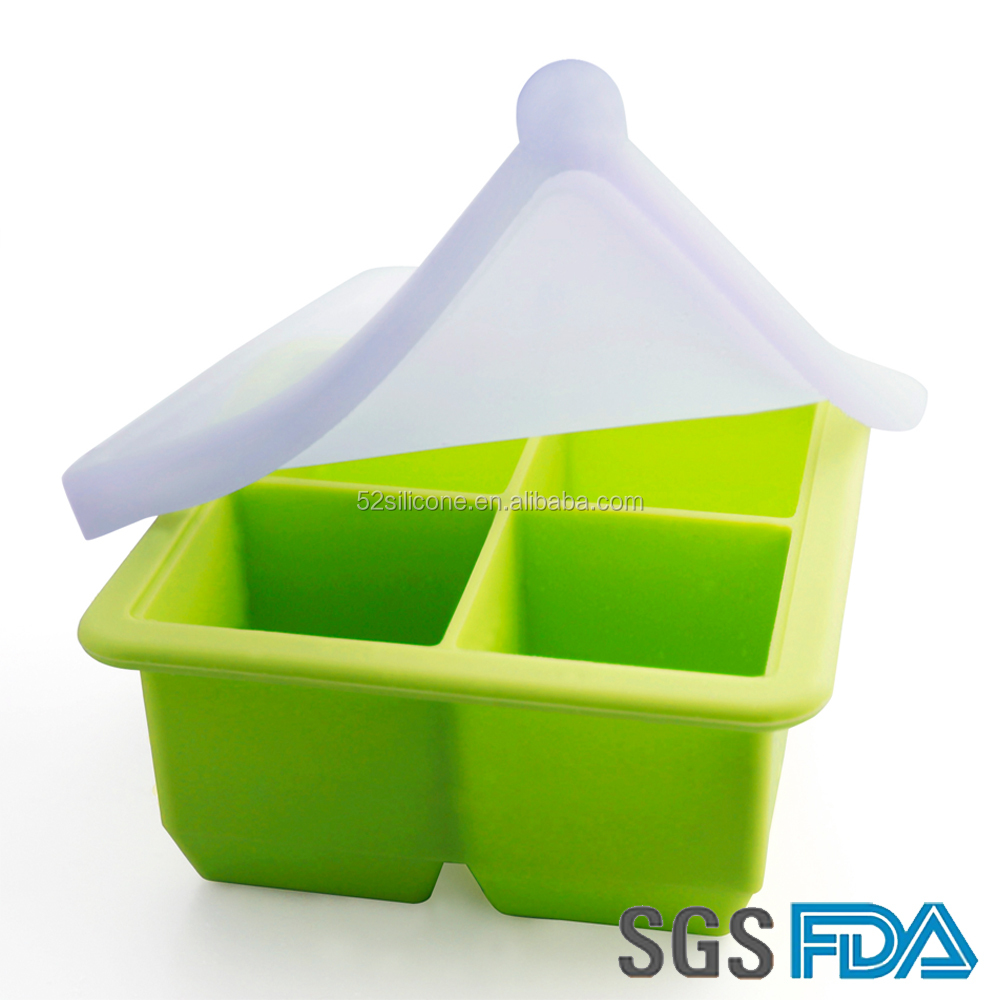 Custom Shaped Non-stick Refrigerators And Freezers Silicone Ice Cube Tray With Lid
