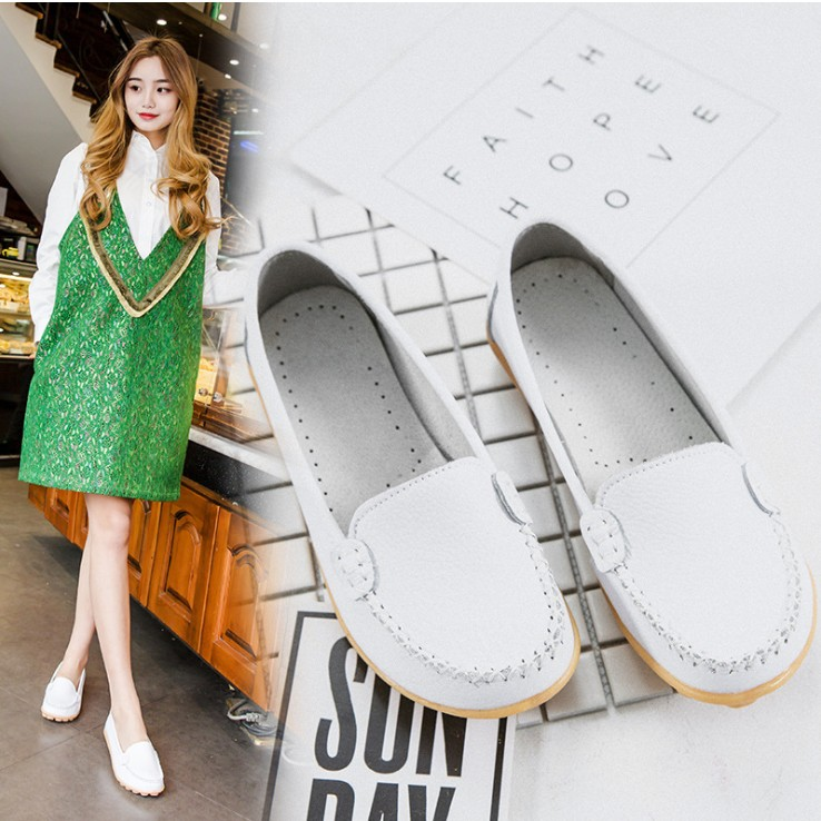 zm40711c spring summer woman shoe relaxing mother flat sole lady shoes leather skid resistance big size female shoe