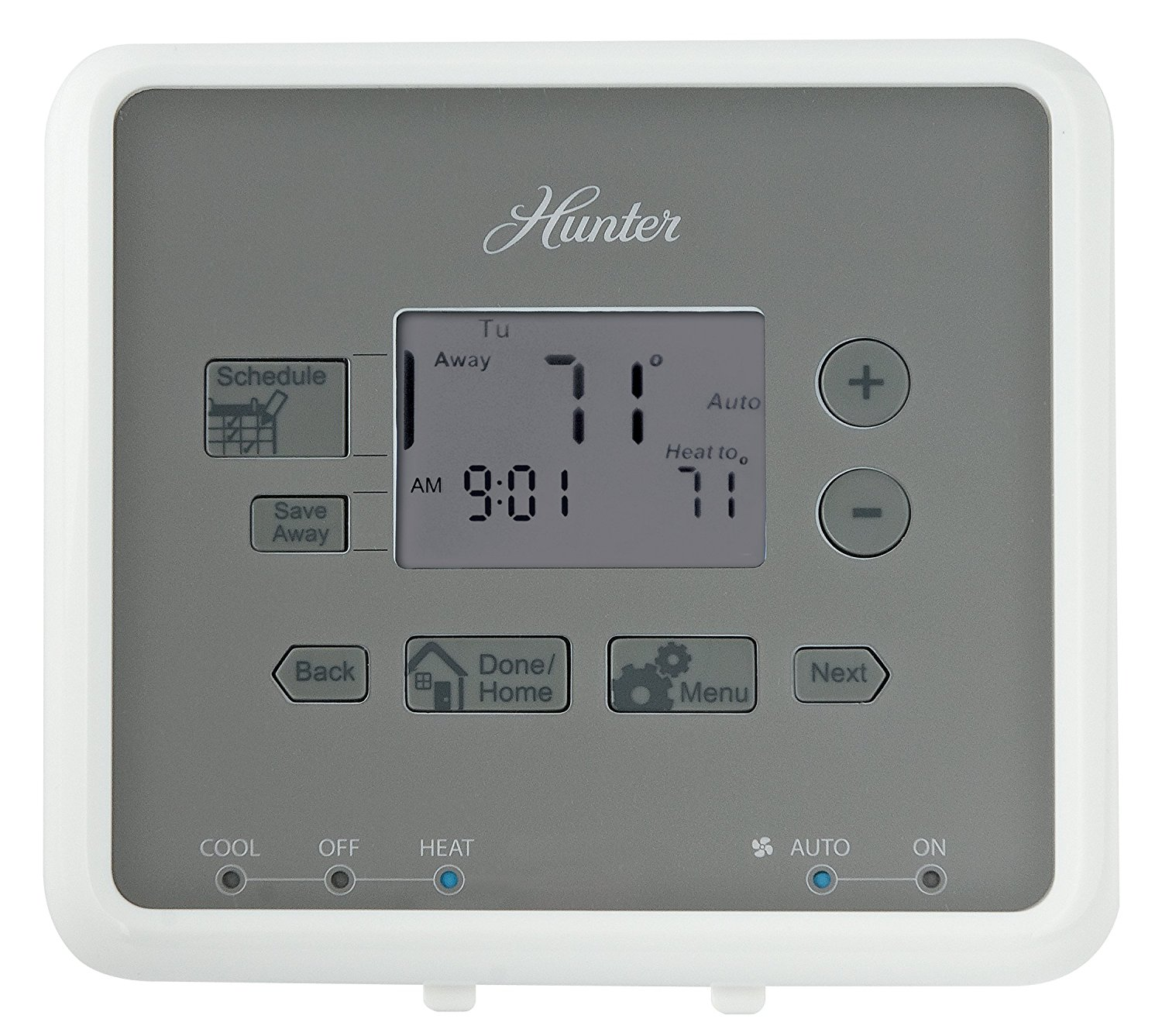 Get Quotations · Hunter 44132 5-Minute 5-2 Day Programmable Thermostat,  White