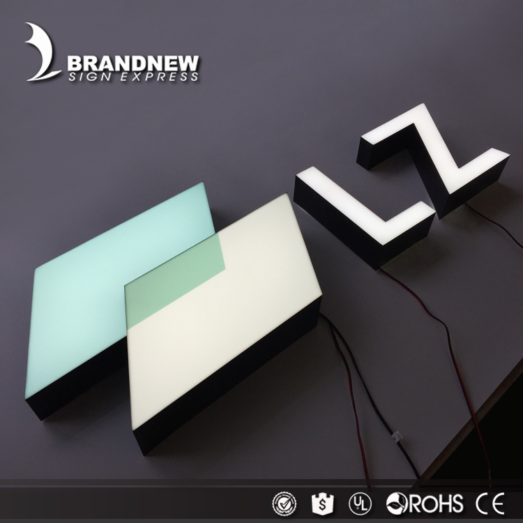 BRANDNEWSIGN Wholesale trimless channel letters UV printed acrylic aluminum alloy return channel led sign