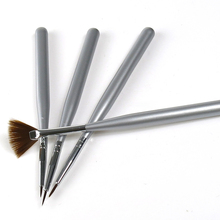 4Pcs Wooden Handle Silver Nail Art Acrylic Design Brush Pen Polish Set NB003