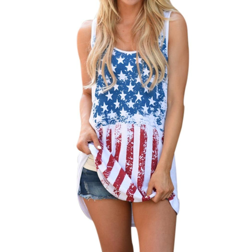 Ladies Blouse T-Shirt,❤️ZYEE❤️Sexy Women American Flag Print Hollow Out Sleeveless T Shirts Tops Vest CropTop Swing Tunic Cami Top Tee Patriotic Shirt Loose Fit Camisole Tunic (White, XL)