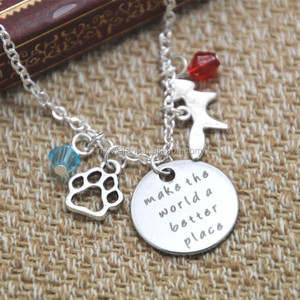 Zoo Necklace Make the world a better place Inspirational necklace Animal paw print fox crystals Jewelry