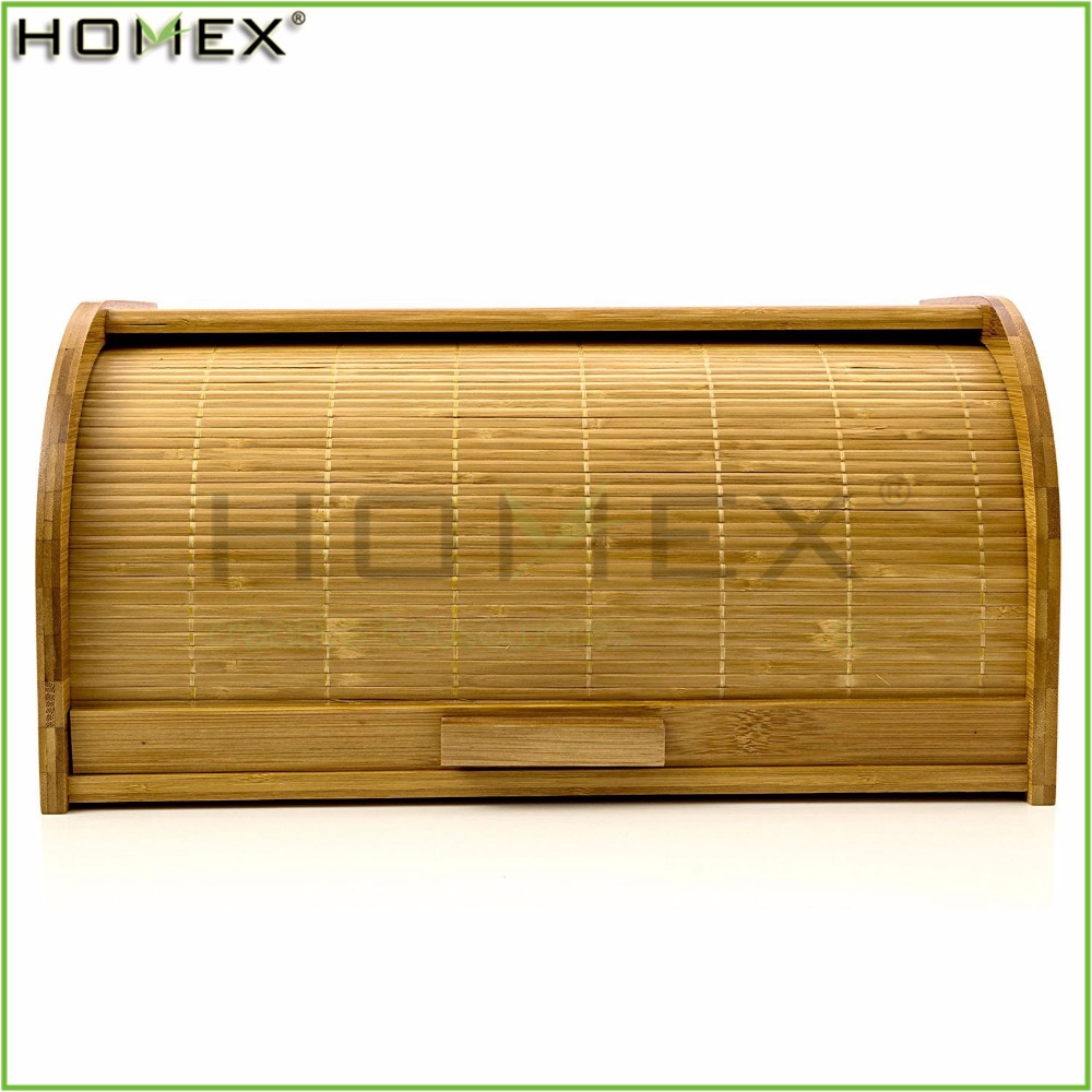 Food Safe Bamboo Bread Box with Roll Top Cover/Bread Storage Bin/Homex_FSC/BSCI Factory