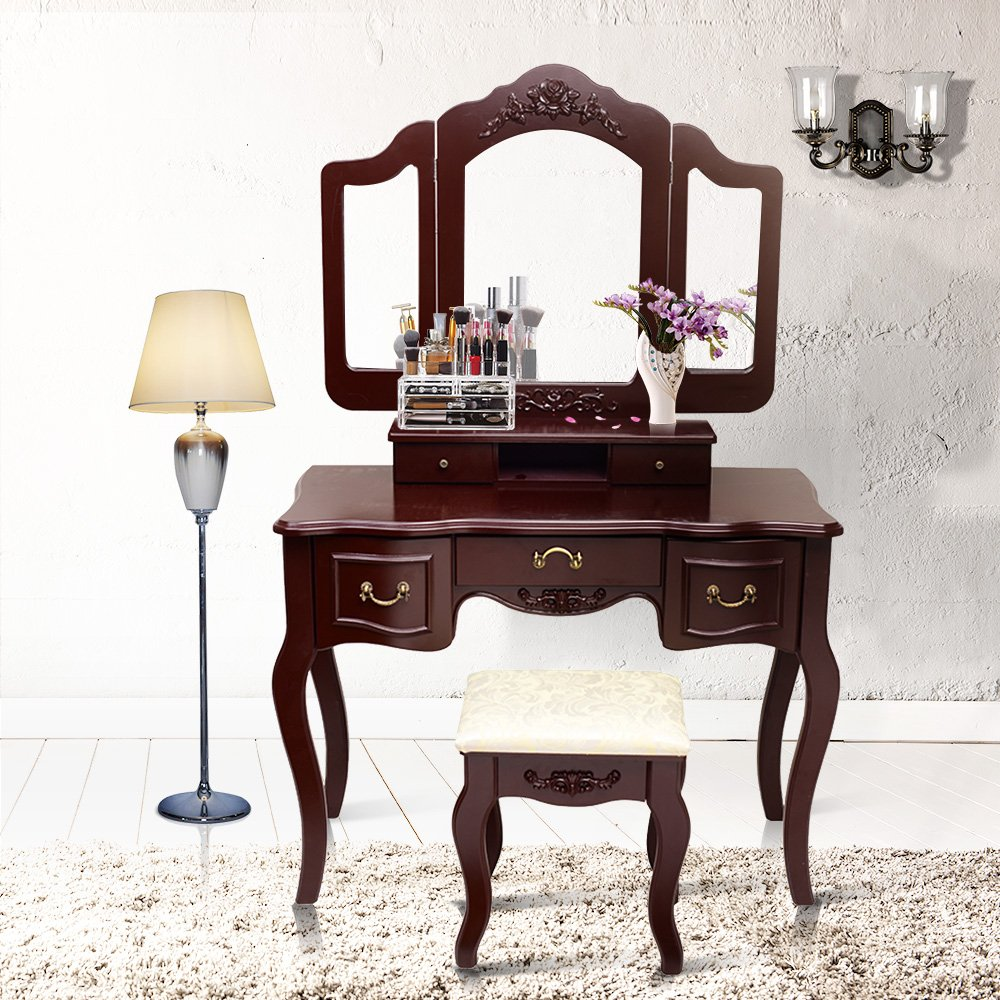 Get Quotations · Blongang Vanity Makeup Table Set Tri-folding Mirror Vanity  Set with Stool 5 Drawers Bedroom - Cheap Antique Dressing Table Vanity, Find Antique Dressing Table