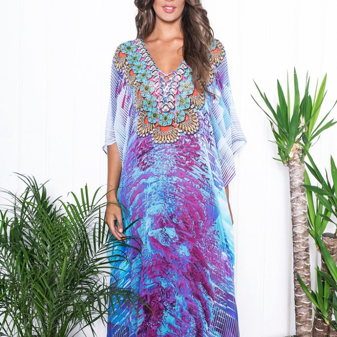 Floral Print Silk Caftan Wholesale Katfan dress Kaftans 2016