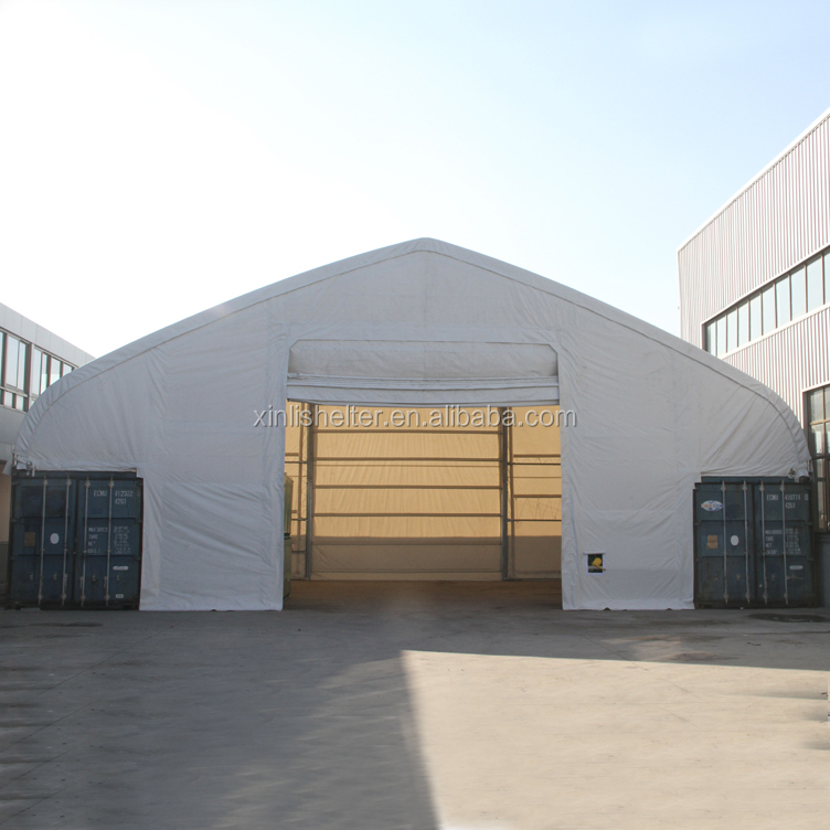 50ft span storage container shelter for stocking goods