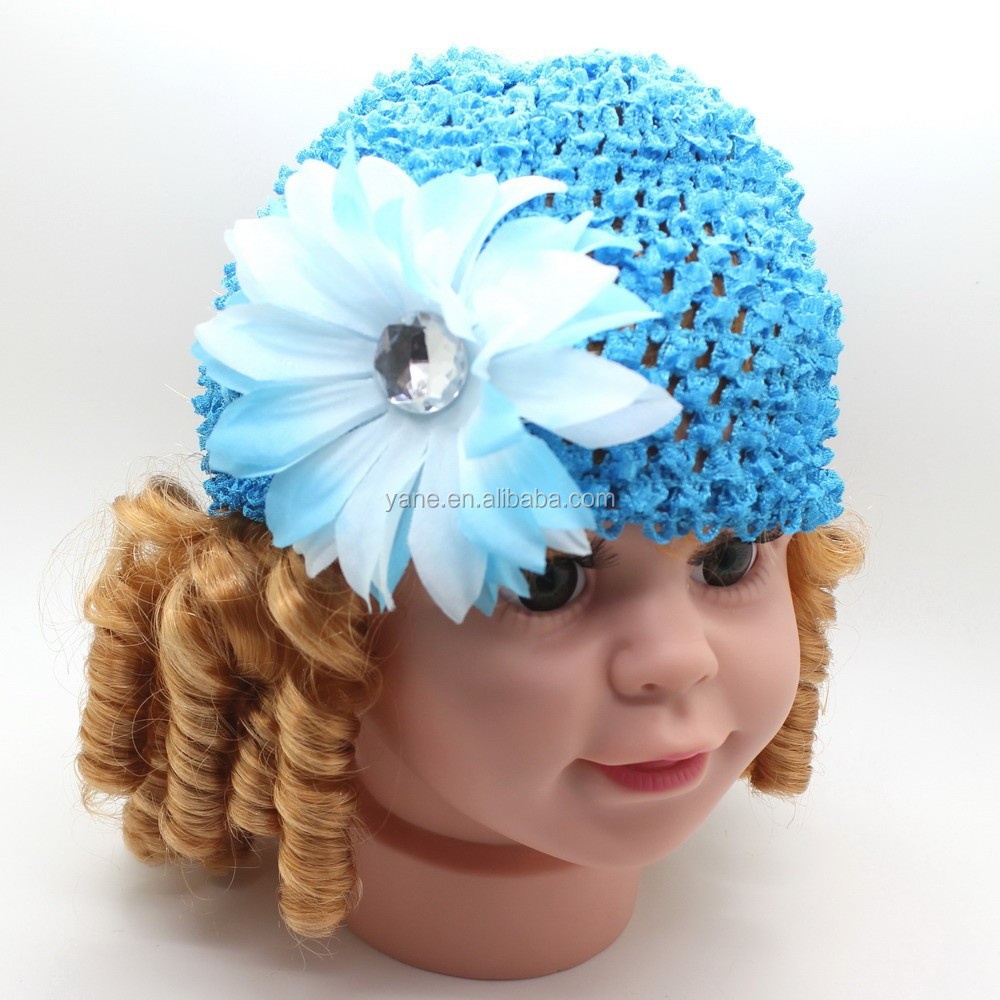 2015 New Knitting crochet pattern cute baby crochet hats caps with daisy flower