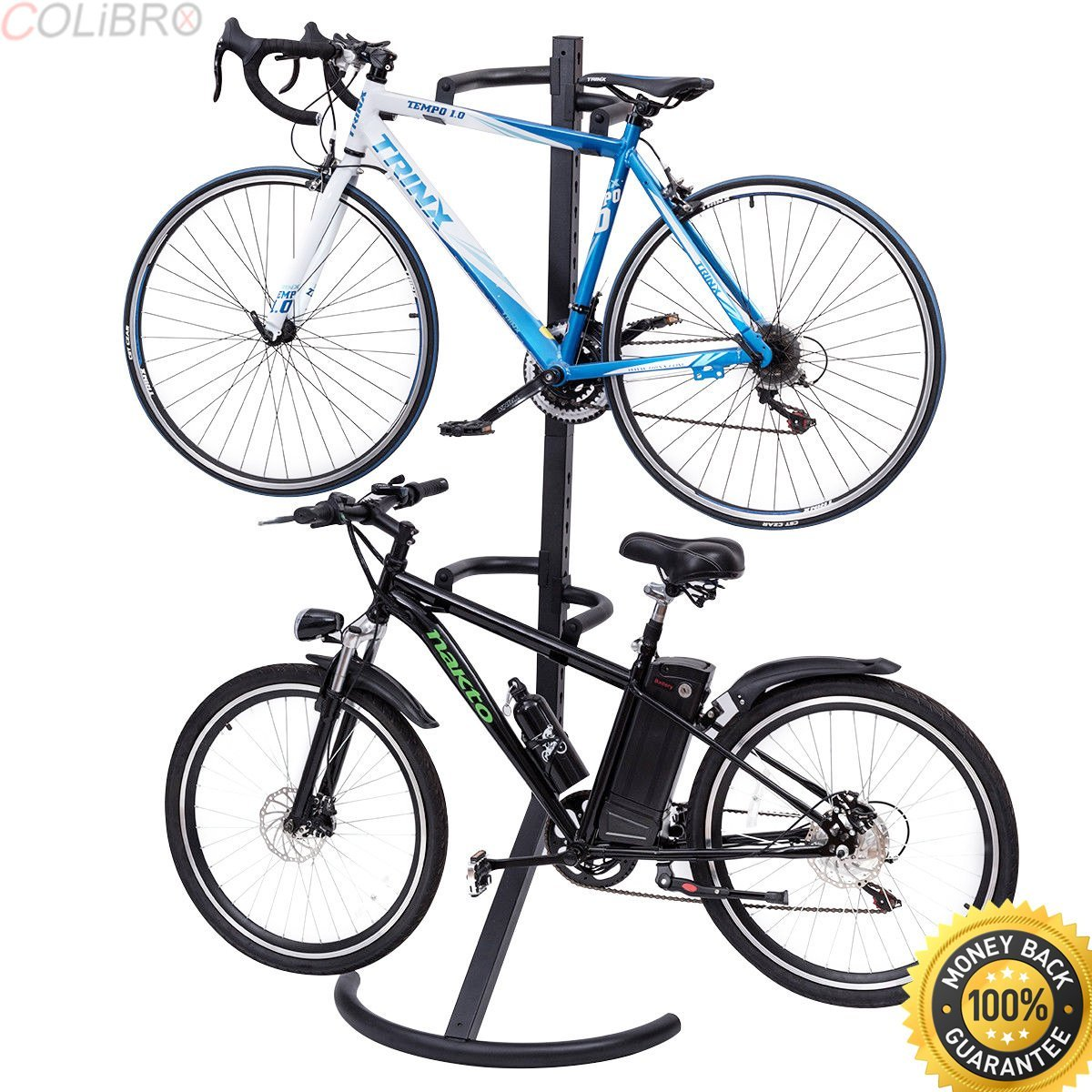 COLIBROX--Freestanding Gravity Bike Stand Two Bicycles Rack For Storage or Display. racor gravity bike stand. free standing bicycle rack. lifegear gravity bike stand. best two bike gravity stand.