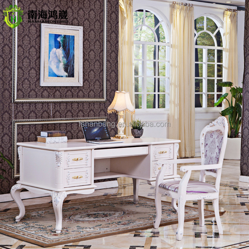 modern ivory white French Design Wooden dressing table cheval mirror with drawers and stool