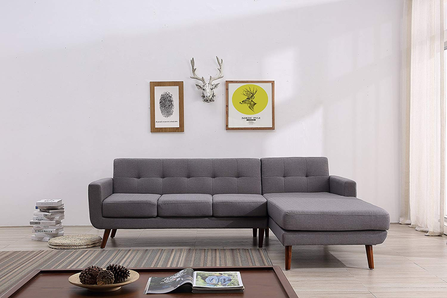 """Container Furniture Direct S0121R-2PC Andy Linen Upholstered Midcentury Modern Right-Sided Sectional Sofa, 69.29"""", Grey"""