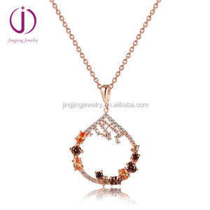 Jingjing wholesale color crystal jewelry 925 sterling silver cz rose gold pendants