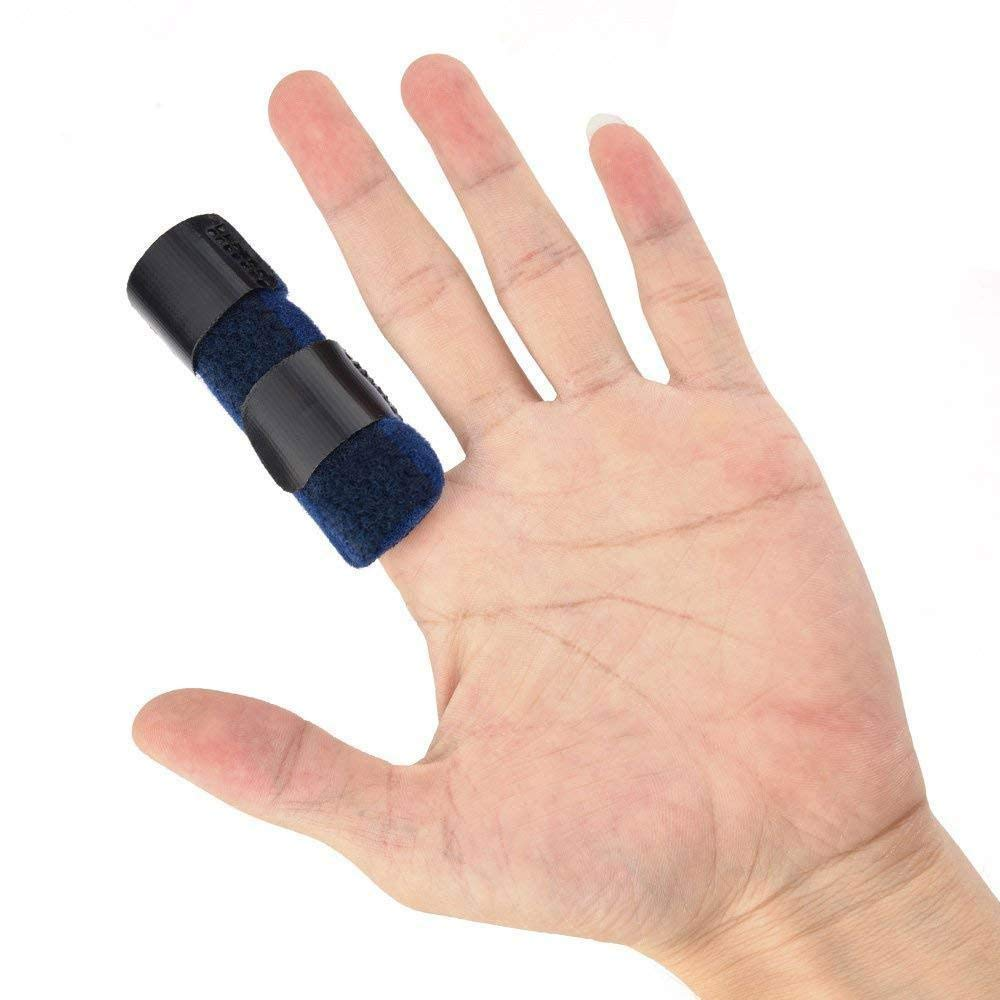 Finger Straightener Splint,Aolvo Bent Finger Splint Built-in Aluminium Support,Finger Straightening Brace for Mallet Finger, Finger Knuckle Immobilization, Finger Fractures Blue