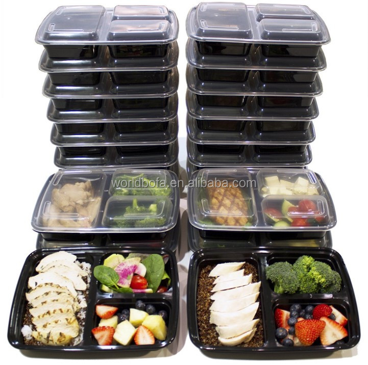 Meal Prep Containers 3 Compartment with Lids Food Containers Lunch Box