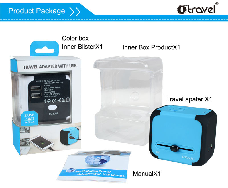Rohs CE travel adaptor SL-176 corporation gifts pro world USB charger travel adapter with non-grounding plug converter promotion