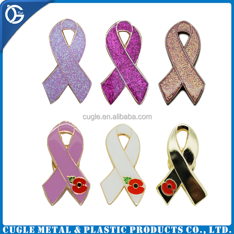 Custom design professional zinc zlloy wholesales colorful ribbon cancer lapel pin