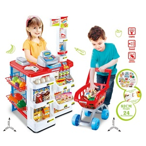 Kitchen Play Toys Role Play Supermarket Set With Cash Register Toy And Shopping Cart