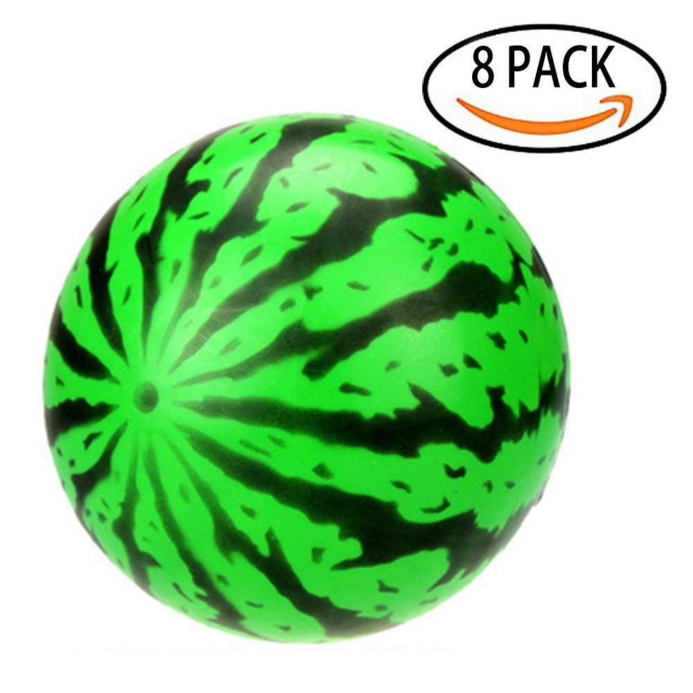 """Tretree Watermelon Inflatable Beach Ball, 8-Pack Summer Playground Toys for Kids, 7.9"""" Rubber Bouncing Ball Swimming Pool Party Favors for Outdoor Games and Kickball"""