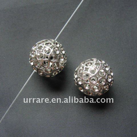15mm Rhodium Alloy Ball Beads for Jewelry Making