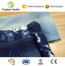 Alibaba China indigo knitted stretch cotton denim jeans fabric