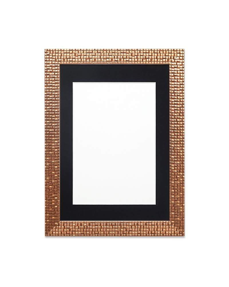 "Paintings Frames Flat Bright/Mirror Effect/Pop Star Photo Frame Picture Frame Poster Frame Moulding Measures 28Mm Wide & 16Mm Deep 10""x8"" for 8""x6"" picture Bronze Bling Frame with Black Mount"