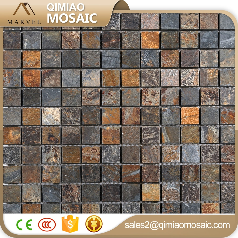 Popular 23X23Mm Slate Panel Floor Mosaic Stone Outdoor Wall Tile