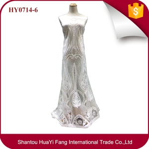 Top sale french tulle lace fabric high quality white squins lace fabric for wedding dress HY0714-6