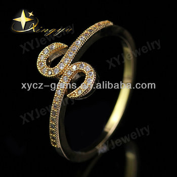 Winter Collection S Letter Gold Plated Cz Brass Rings Jewelry