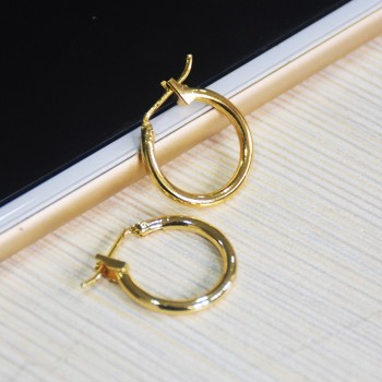 Whole Bulk 925 Sterling Silver Women Plating Saudi Gold Hoop Earrings