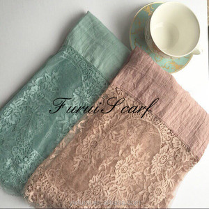 New Fashion Floral Pattern Lace Flower Muslim Shawls Mix Color Hijab Head Wrap Cotton Viscose Scarves High Quality