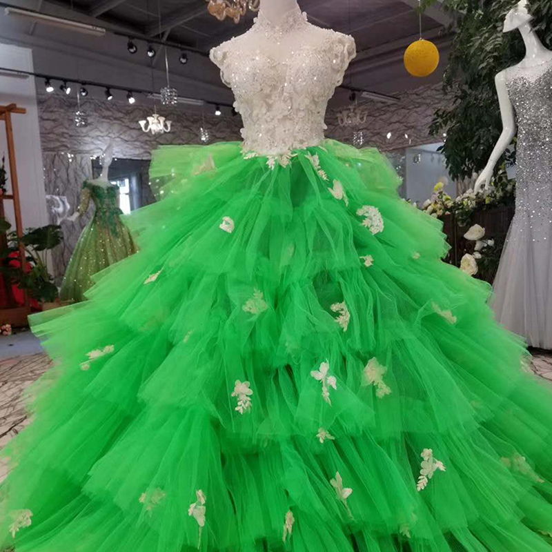 LSS154 cheap high neck bright sexy lime emerald green prom evening dress
