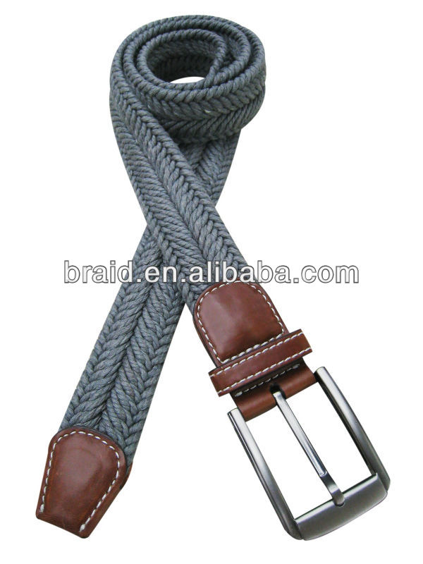 rope woven cotton belt with elastic rubber
