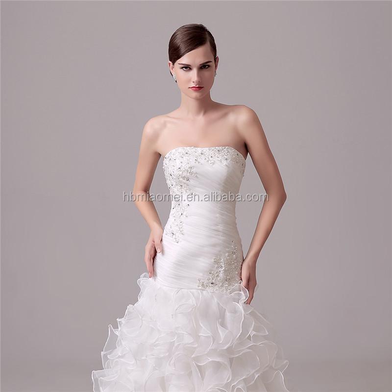 Weiße Farbe Geschnürt Tiefem V-ausschnitt Prinzessin Hochzeitskleid ...