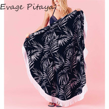with white tassels white and black fight color leaf pattern printed round beach towels 180 cm