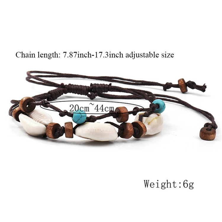 High Fashion Shell Pendant Anklet Wax Rope Adjustable Wooden Beads Bracelet Leg Anklet Summer Beach Barefoot Holiday Jewelry