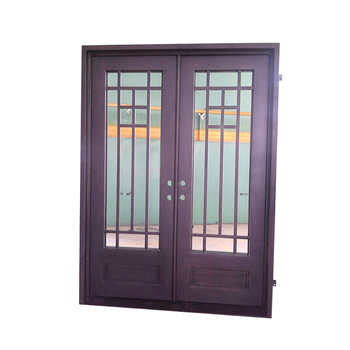 Wholesale Cheap Exterior Double Entry Square Wrought Iron French
