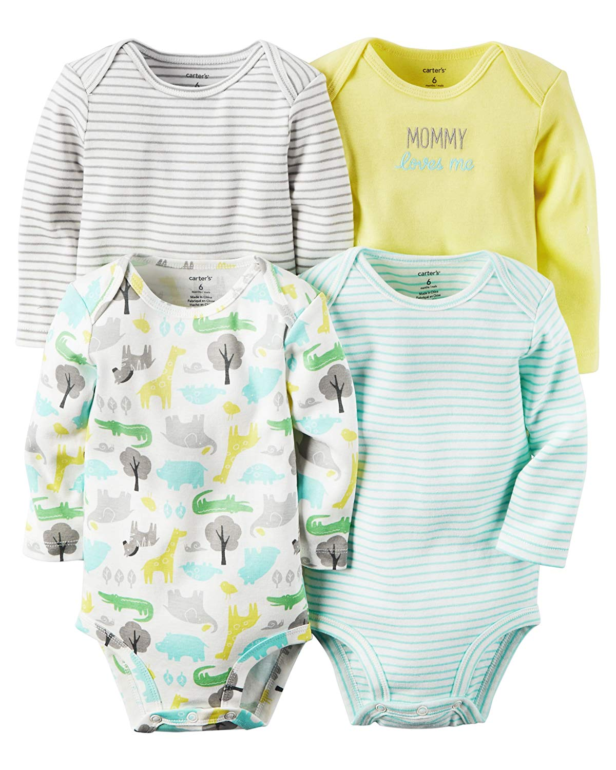 93bce6fa1c Get Quotations · William Carter Baby Boys  4 Pack Long Sleeve Bodysuits  Undershirt Set (Baby) Animals