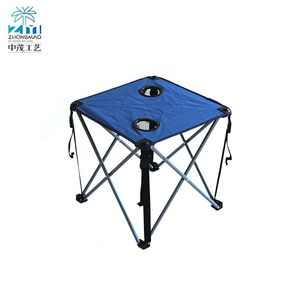 Strong and durable adjustable height steel travel folding table