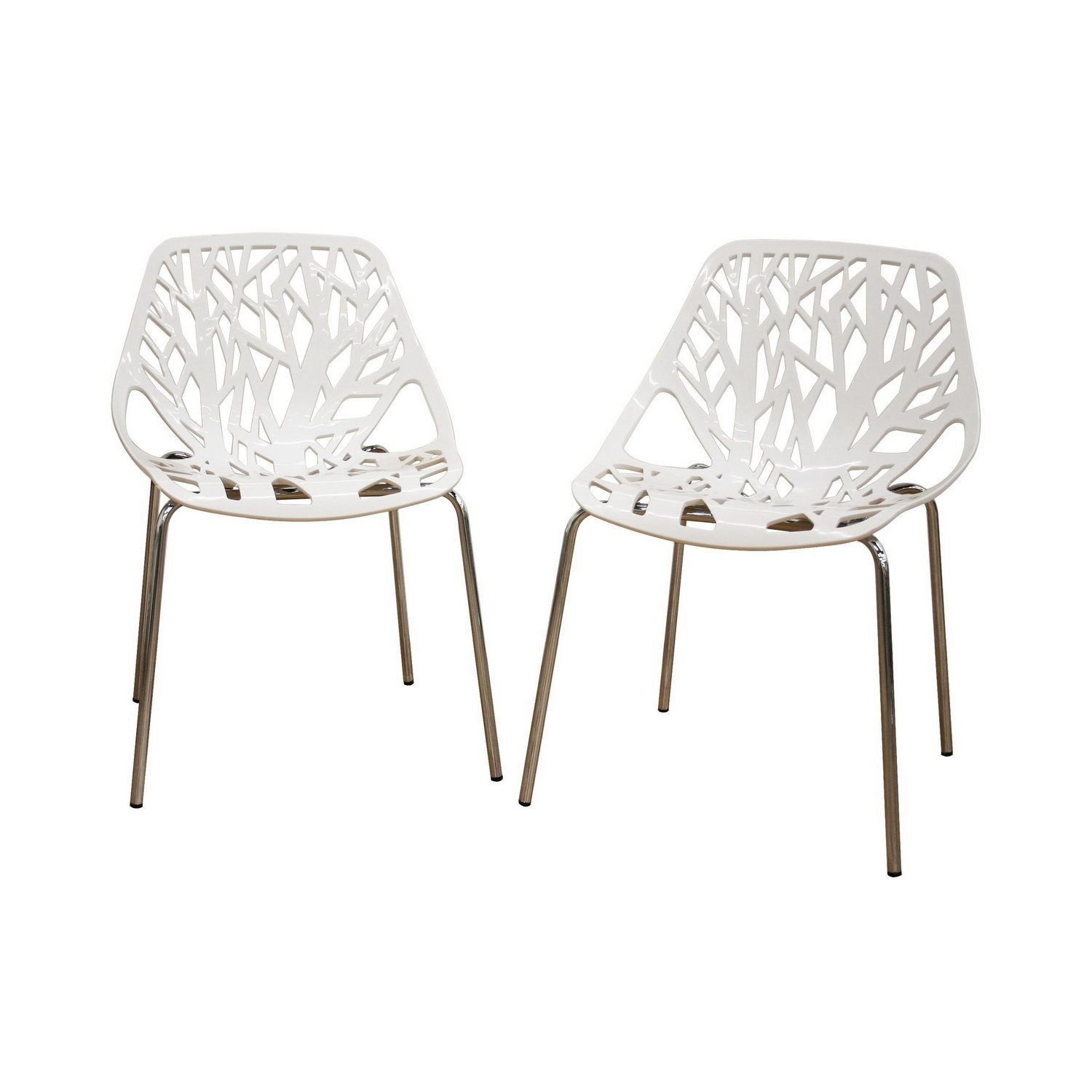 Get Quotations Modern 4 Metal Dining Chairs In White Plastic Seat