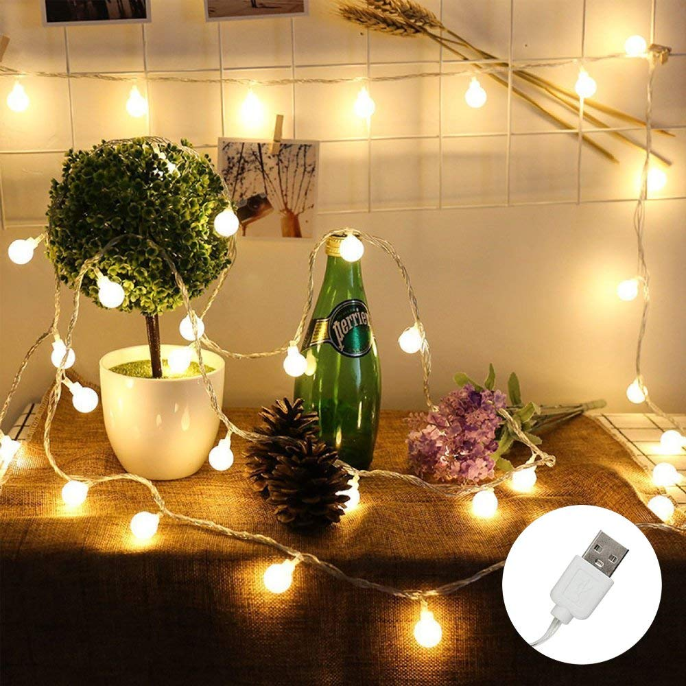 ER CHEN 12ft 20 LED Globe String Lights, USB Powered Warm White LED Ball Fairy Lights Indoor/Outdoor Decorative Light for Patio Garden Christmas Tree Wedding Dorm Room Decorations, 12-PACK