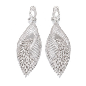 Trendy Flower Full Paved Cubic Zirconia Naija Wedding Drop Earring Fashion Jewelry
