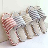 Wholesale cool home furnishing stripe four seasons men and women lovers indoor non-slip bottom thick cotton linen slippers