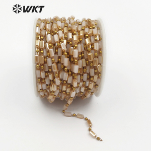 WT-RBC083 Handmade Fashion khaki Jewelry Faceted Clear beads Chain Glass With Brass Wire Wrapped crystal beads chain