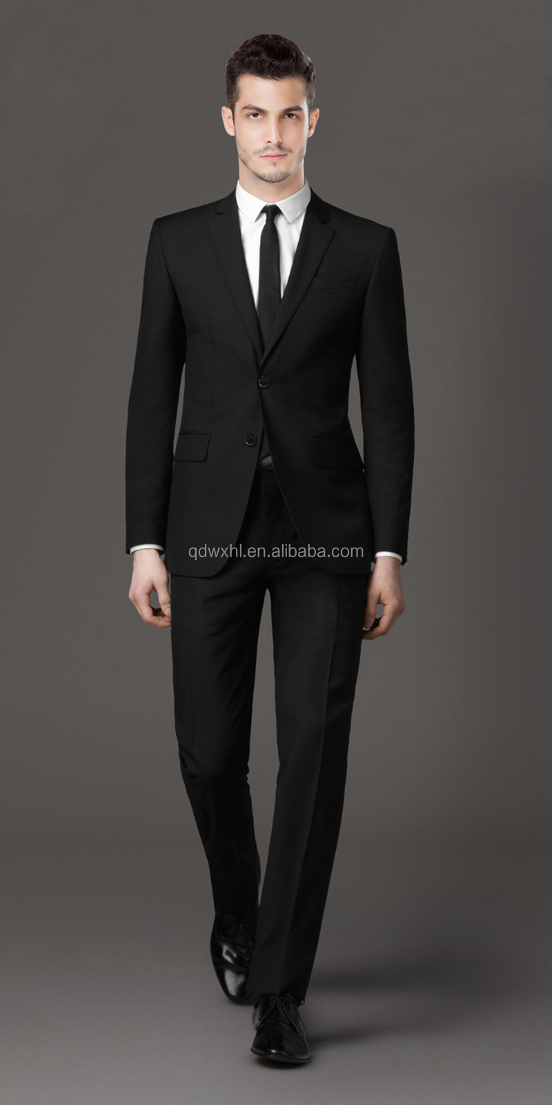 Two Buttons Natural Black Color Skinny Wool Slim Fit Men's Suit ...