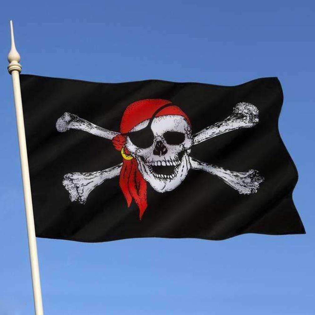 Binmer(TM) Pirate Flag 3x5 ft Calico Flag Halloween Jolly Roger Skull Flag Polyester Banner
