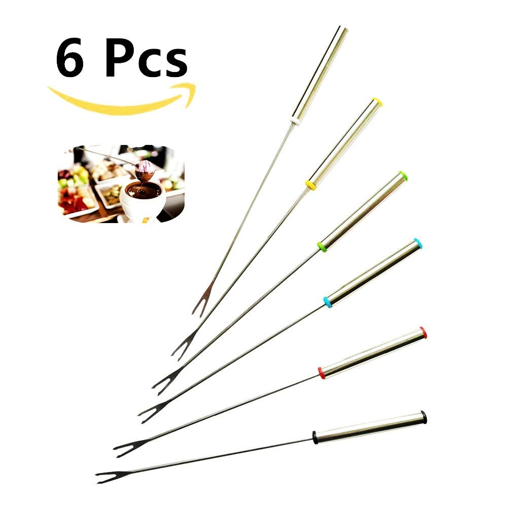 AUXIN,Cheese Fountain Forks [Set of 6][Color Coding],Fruit Chocolate Fountain,Reusable Roast Marshmallow/Shrimp/BBQ Meat/Meatballs/Dessert Fork,Hot Pot Forks [9.5-in][$1.16/Fork]