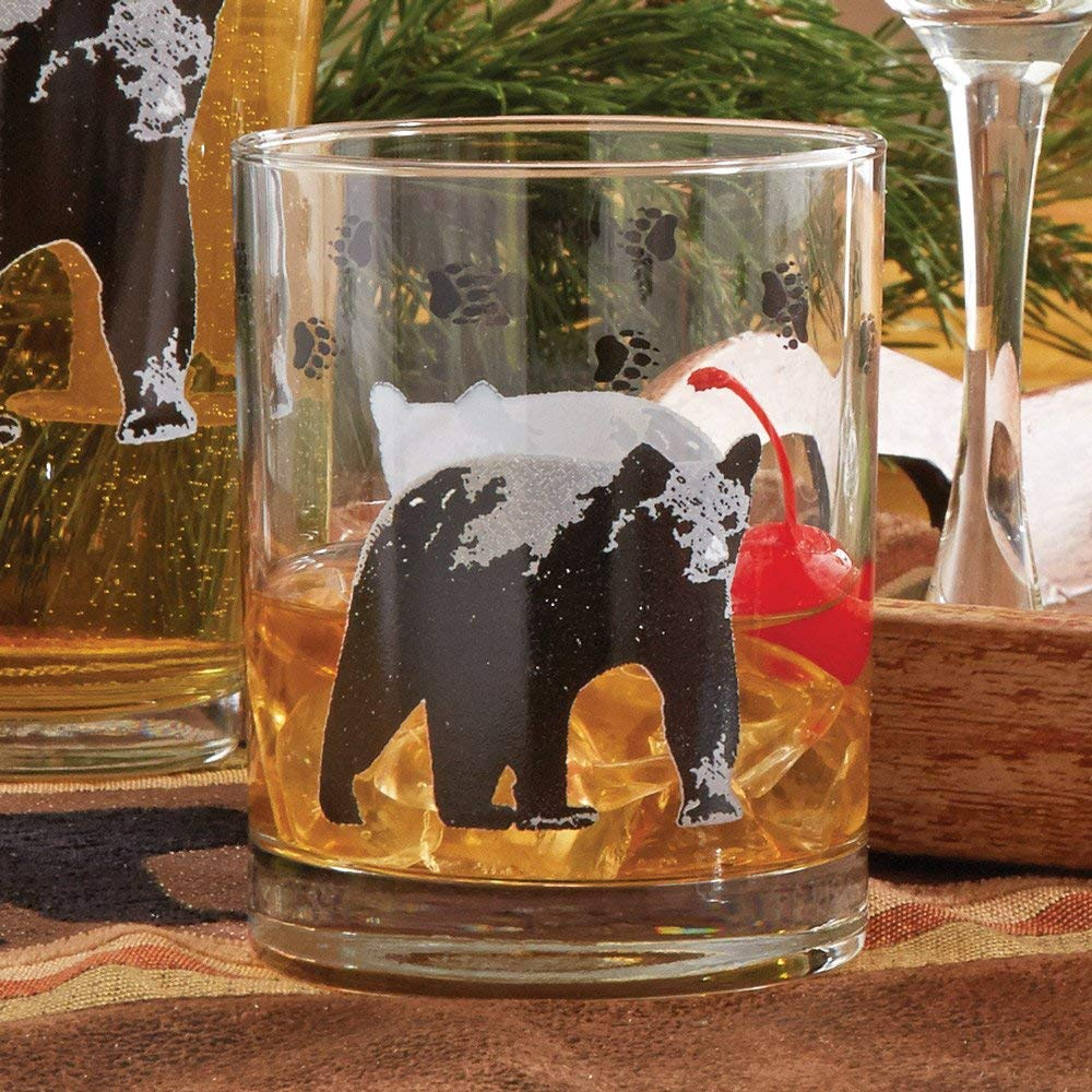 Black Bear Double Old Fashioned Rustic Glasses - Set of 4 - Lodge Kitchen Decor