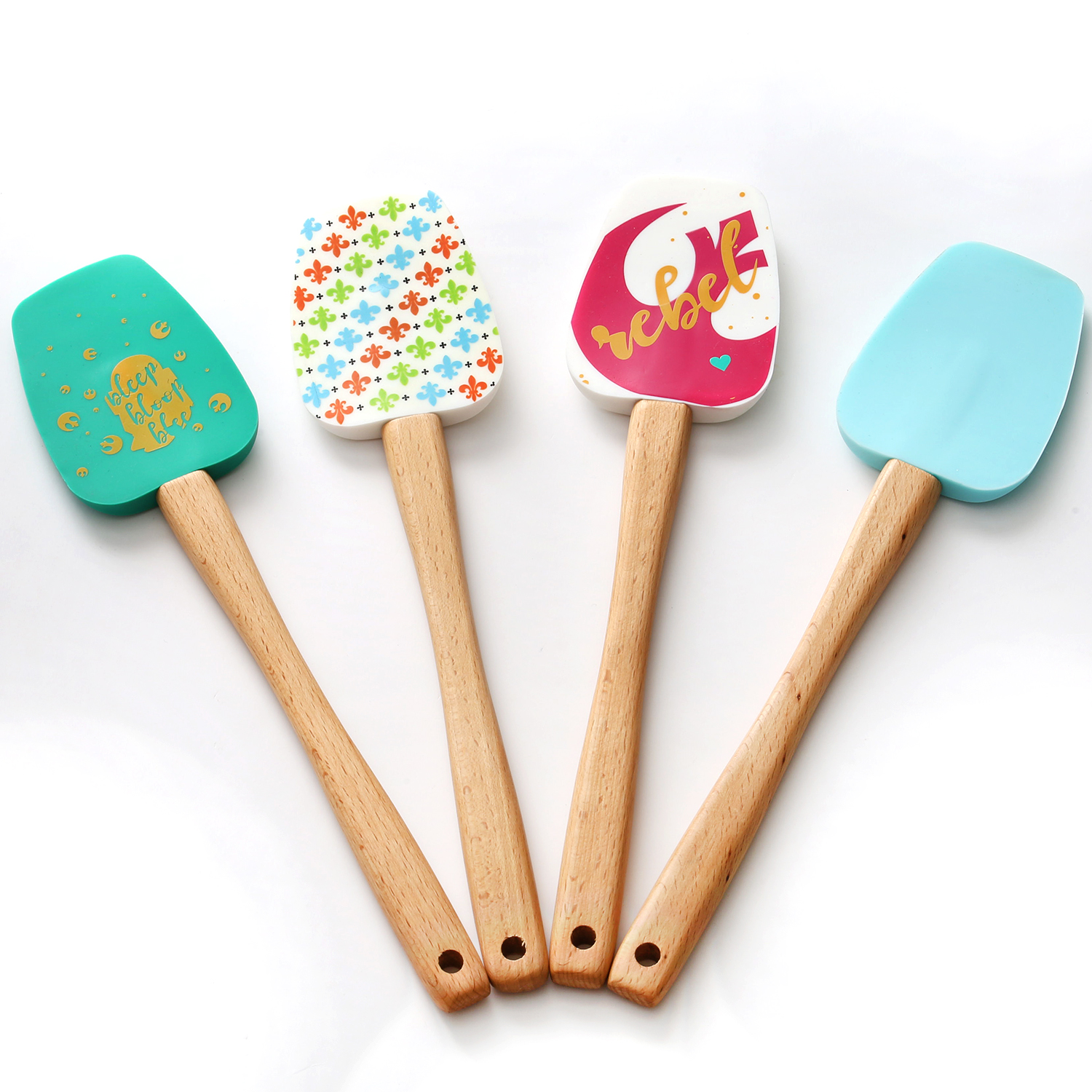 Silicone Spatula with Bamboo Handle  Easy clean, durable, high temperature& Never Rusty