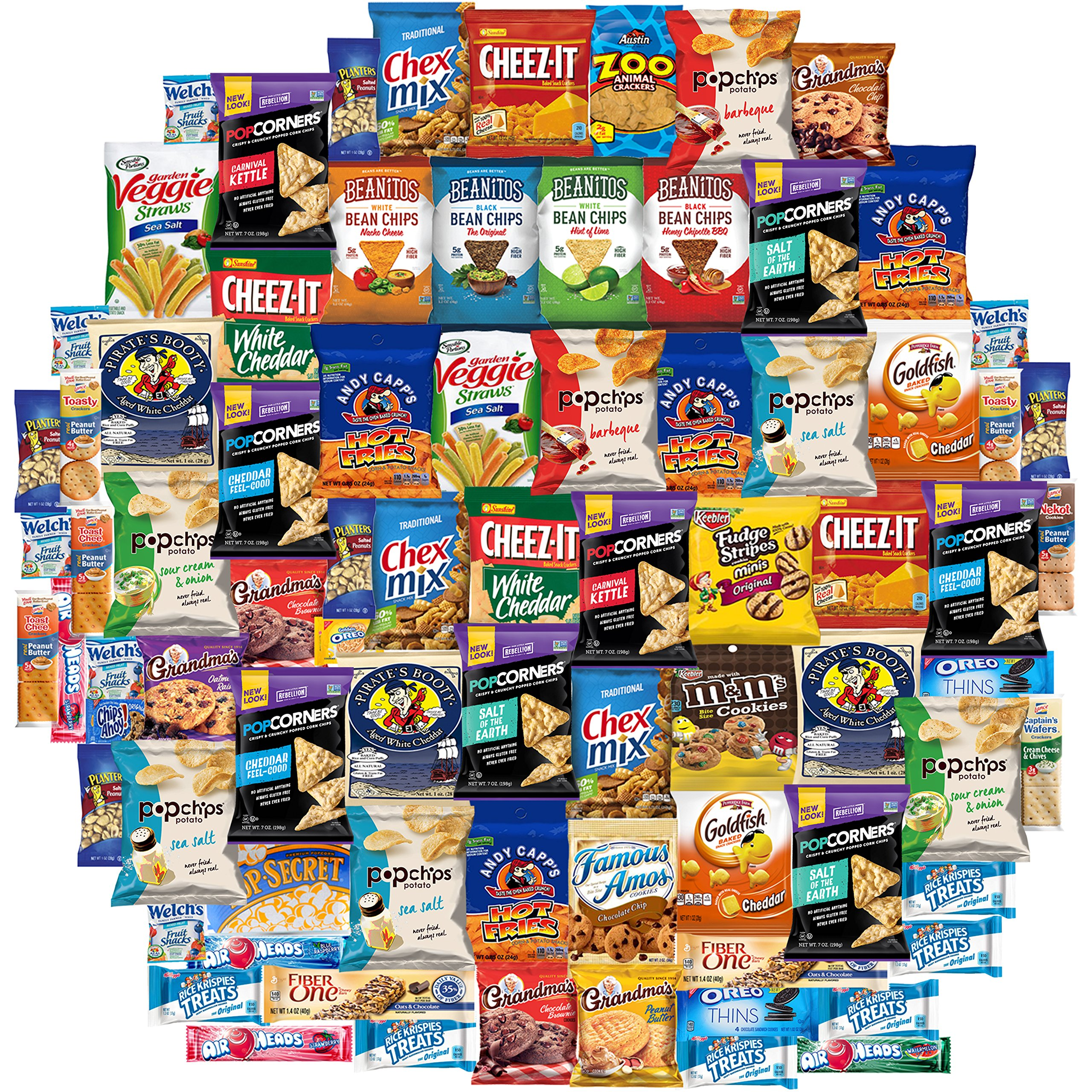 Ultimate Snacks Chips Cookies Candies Crackers & More Care Package Variety Pack Includes Goldfish Snyders Chex Mix Cheez It Beanitos Popcorners Oreos Air Heads & More Bulk Sampler (80 Count)