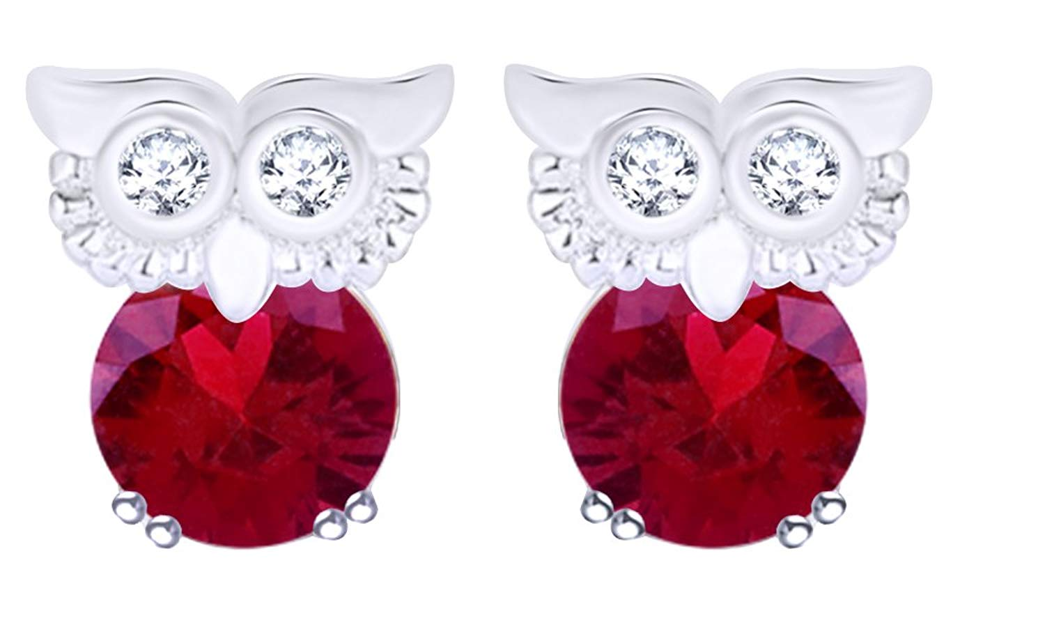 8c8907bba Get Quotations · Round Cut Simulated Garnet Owl Stud Earrings In 14K Gold  Over Sterling Silver